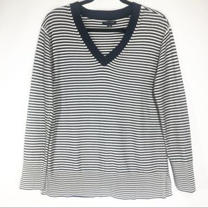 Tommy Hilfiger Navy Nautical Stripe Vneck Pullover